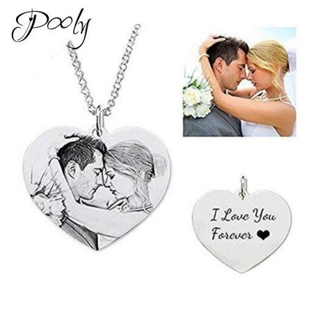 "Poly S925 Sterling Silver Tags 3D Engraved Personalised Photo Necklace 18""45cm length Adult"
