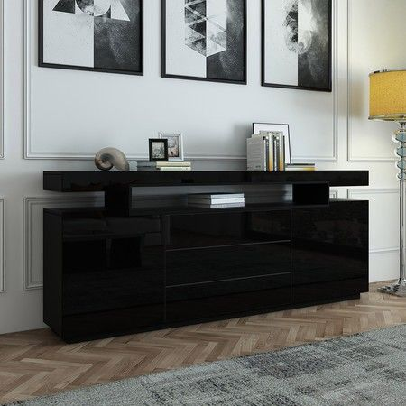 200cm Sideboard Buffet Cabinet High Gloss Front Storage Cupboard 2 Doors 3 Drawers Black