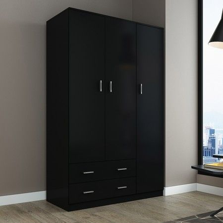 Wardrobe Cabinet Wood Bedroom Clothes Storage Organiser Cupboard 3 Doors 2 Drawers Black