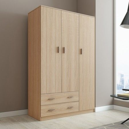 Oak Wardrobe Cabinet Wood Bedroom Clothes Storage Organiser Cupboard 3 Doors 2 Drawers