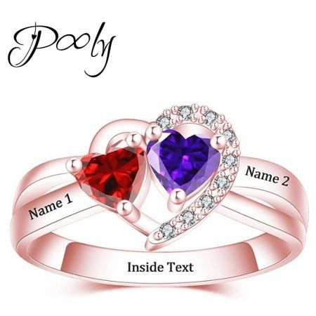 Poly Design Your Own Heart 2 Birthstones Gem S925 Silver Customized Personalized Engraved Rose Gold Ring