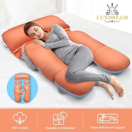 Luxdream U Shape Full Body Pregnancy Pillow Maternity Support Cotton Cover