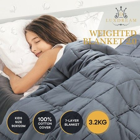 Luxdream 7 Layer Calming Weighted Blanket 100% Cotton Cover for Kids 90x120cm 3.2kg