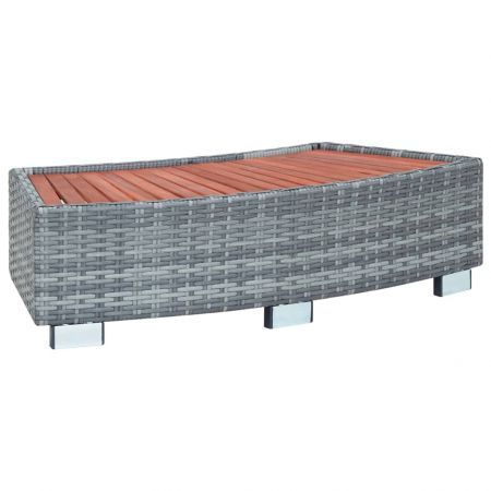 Spa Step Grey Poly Rattan 92x45x25 cm