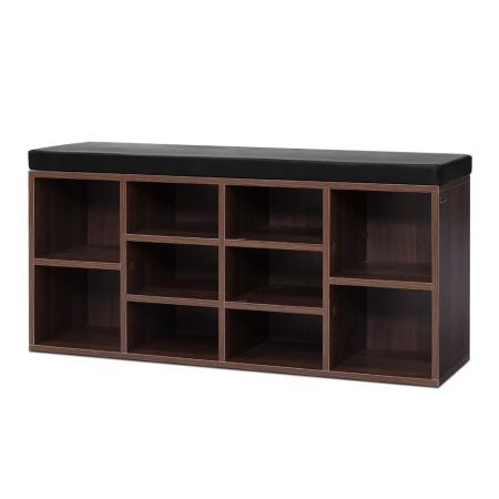 Artiss Shoe Cabinet Bench Shoes Storage Rack Organiser Shelf Cupboard Box Walnut