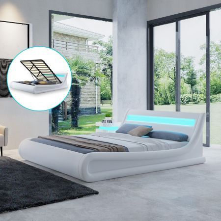 Fashion White Bed Frame with Storage LED Light Queen Size