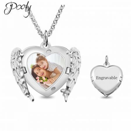 "Poly Angel Wings Locket S925 Sterling Silver Tags 3D Engraved Personalised Photo Necklace 18""45cm length Adult"