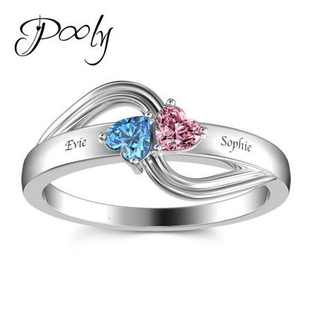Poly Design Your Own  3 Birthstones Gem S925 Silver Customized Personalized Engraved Statement Ring