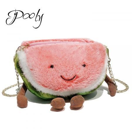 Poly Novelty Cute Plush Watermelon shape Cross body Bag