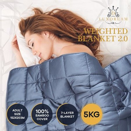 Luxdream 7 Layer Calming Weighted Blanket 100% Bamboo Cover for Adults 152x203cm 5kg