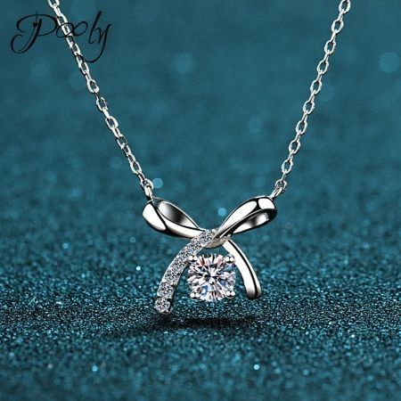 Poly   S925 Sterling Silver  Ribbon AAA Zirconia necklace