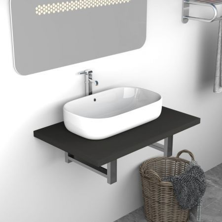 vidaXL Bathroom Wall Shelf for Basin Grey 60x40x16.3 cm