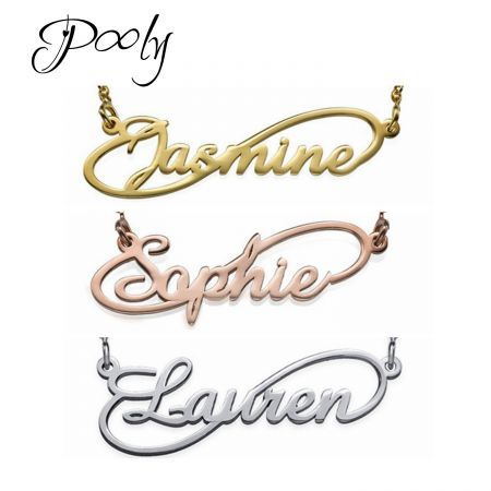 Poly  S925 Silver Customized Personalized   Names Necklace