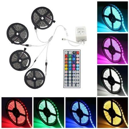 Supli 20M 5050 RGB 600-LED Strip Flexible Tape String Lights Not Waterproof DC 12V with 44 KEY IR Remote Controller Kit
