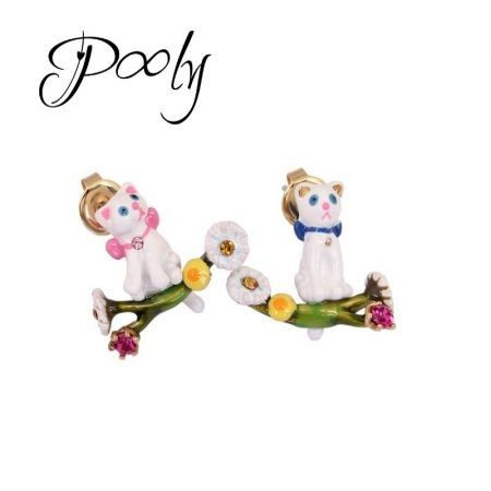Pony Exquisite Enamel Adorable cats non-pierced earrings clips