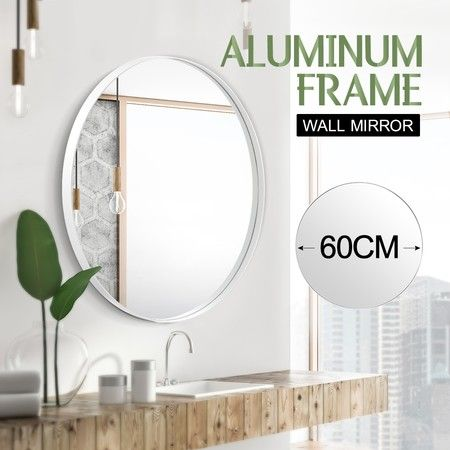 White Large Round Mirror Decorative Wall Mirror 60cm