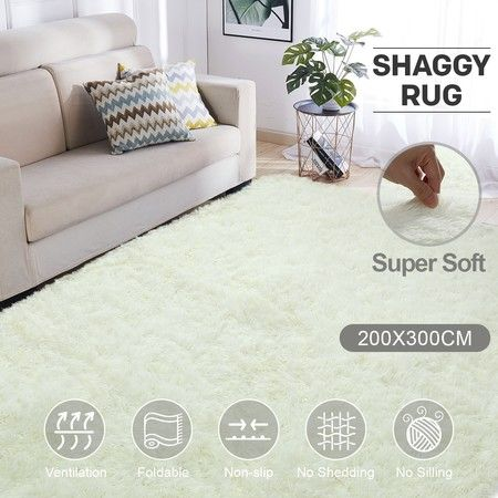Creamy White 2x3m Fluffy Shaggy Rug Carpet Soft Area Rug Anti Slip Floor Mat Bedroom Crazy Sales