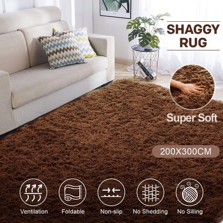 Brown 2x3m Fluffy Shaggy Rug Carpet Soft Area Rug Anti-slip Floor Mat Living Room Bedroom