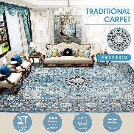 2x3m Soft Floor Area Rug Navy Blue Traditional Carpet Anti-slip Mat Home Living Room Bedroom