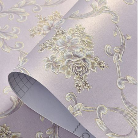 3D Self Adhesive Floral Pattern  Non-Woven Wall Paper 53CMX5M Bl.Purple