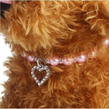 Pet Pearl Necklace with Love Heart Pendant Small Dog Cat Blingbling Jewelry Rhinestones Collar 25CM