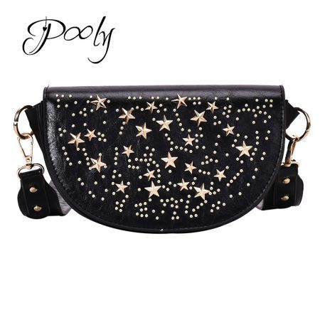 Poly PU Leather  Rivet Stud Moon Shape Cross Body bag