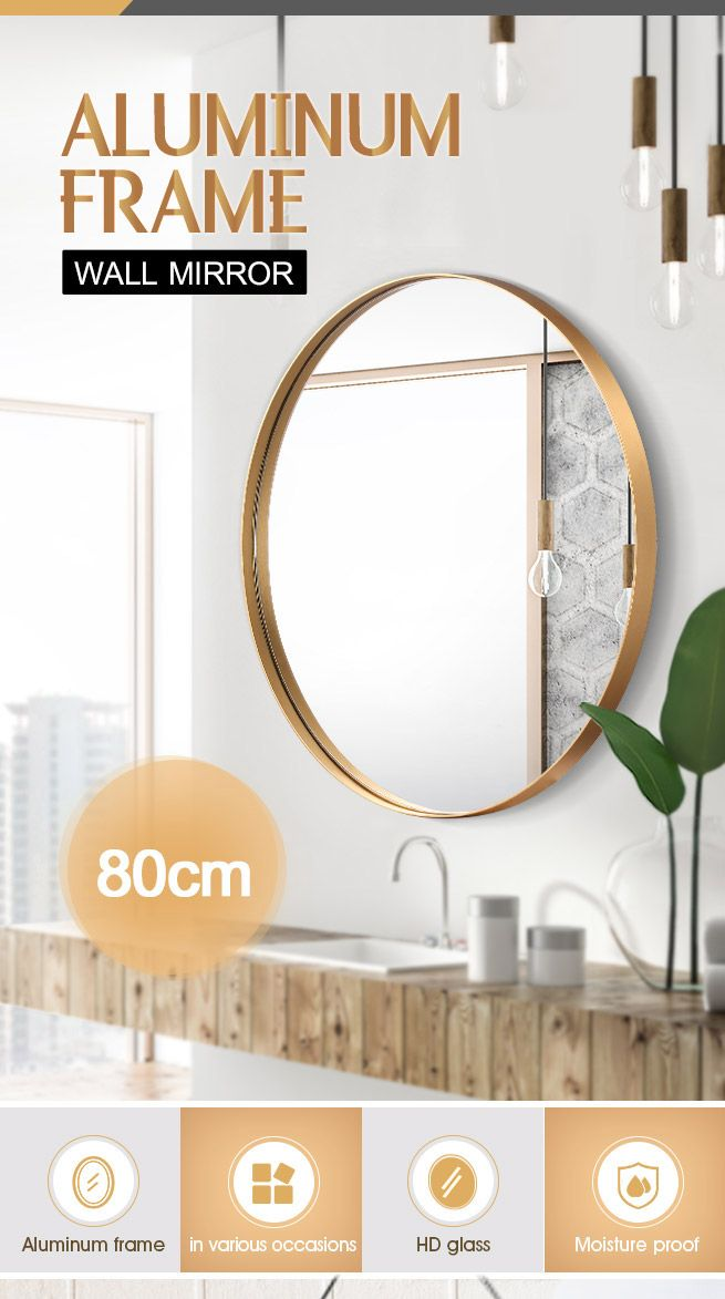 Gold Large Round Mirror Decorative Wall Mirror 80cm