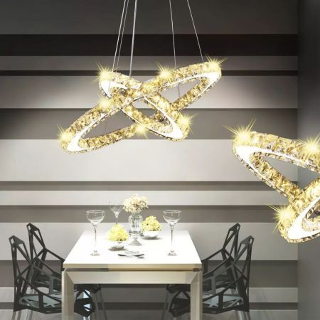 Double Ring LED Crystal Pendant Lamp 23.6 W