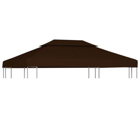 2-Tier Gazebo Top Cover 310 g/m² 4x3 m Brown