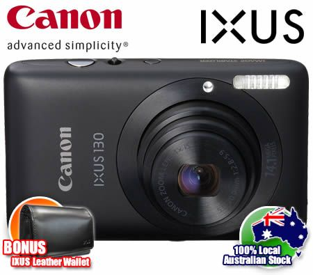 Canon IXUS 130 IS Digital Camera 14.1 MP Megapixel 4x Optical Zoom - BONUS Large Leather Camera Wallet - Black