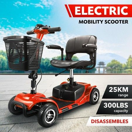 AUSWHEEL Portable Travel Mobility Scooter Front LEDs Horn Button 4 Wheels Red
