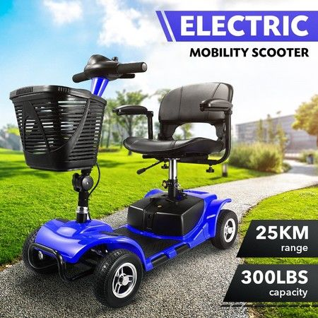 AUSWHEEL 4-Wheel Motorised Electric Power Mobility Scooter Large Basket Blue