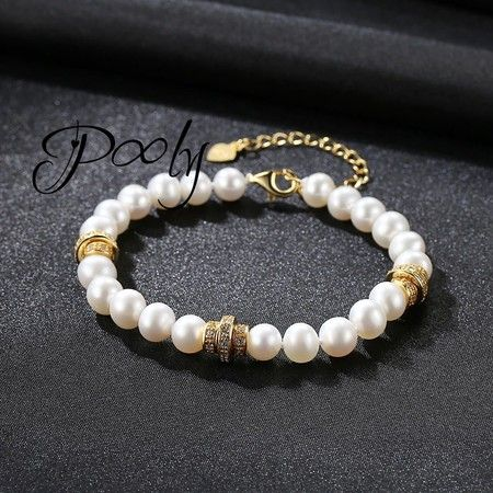 Poly 18K Gold 6cm cultured Pearl bracelet
