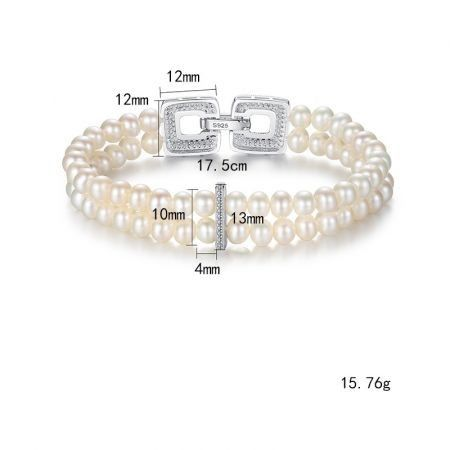 Poly S925 cultured Pearl double chain bracelet
