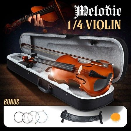 Melodic 1/4 Full-Size Acoustic Violin Kit 4-String Natural Varnish Finish w Case Bow