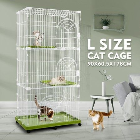 Petscene Multi-Tier Cat Cage Portable Pet Enclosure Wire Crate with 6 Wheels