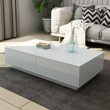New 4 Drawer Coffee Table Wood Living Room Furniture High Gloss White