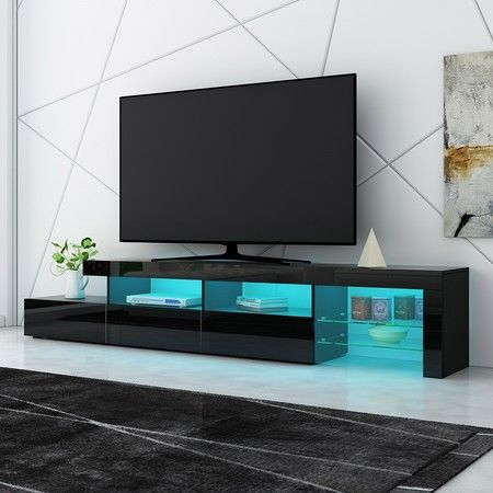 New 3 Drawer TV Table Stand Cabinet LED Entertainment Unit High Gloss Front 240cm Black