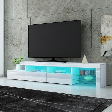 New 3 Drawer TV Table Stand Cabinet LED Entertainment Unit High Gloss Front 240cm White