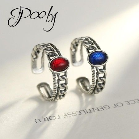 Poly His & Hers Matching  Adjustable  S925 silver  Gem Couple Rings