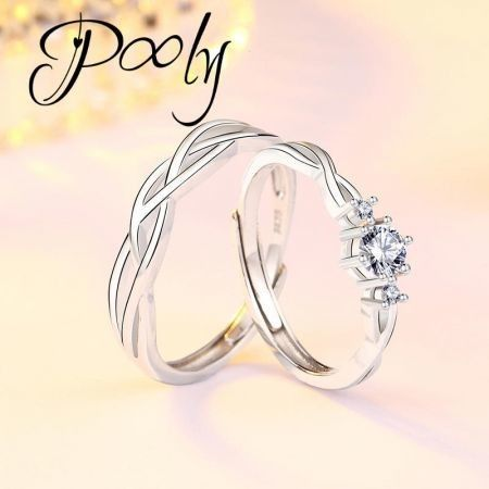 Poly His & Hers Matching  Adjustable  Waved Knot  S925 silver Cubic Zirconia Statement Couple Rings