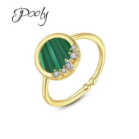 Poly Women  Gold  S925 silver adjustable imitated malachite 3AAA Zirconia Ring