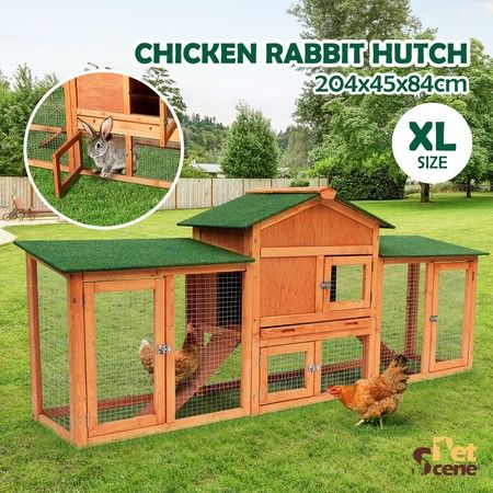 Petscene Extra Large Chicken Run Wood Chicken Coop Rabbit Hutch Cage with Two Ramps