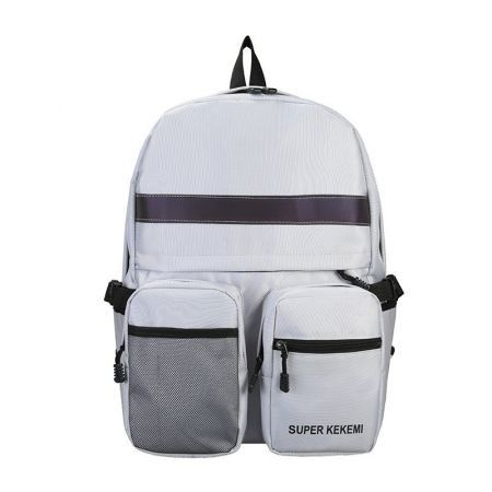 Luminous Oxford cloth Backpack School College Travel bag Col. Grey