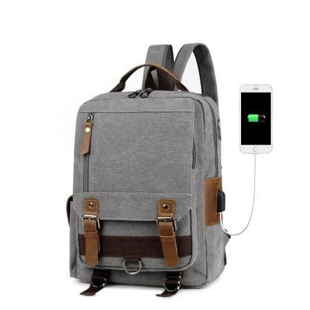 Canvas Backpack with USB charging Port College Travel bag Col. Grey