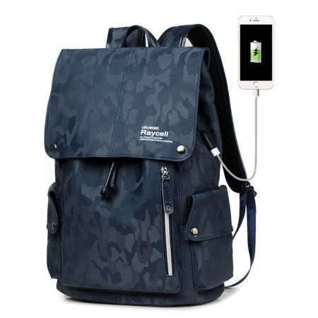 Travel Laptop  Waterproof Business Work School College Bag  with USB Charging&Headphone Port Col. Dk blue