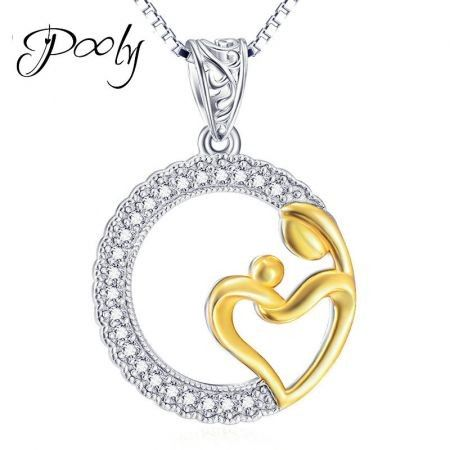 Poly Mother's Love  Pendant  S925 Sterling Silver  3AAA Cubic Zirconia Necklace for Women gift for Mother Wife Mom  Grandma Girlfriend