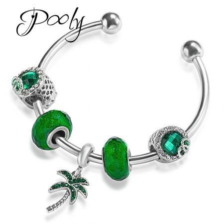 Poly  Palm tree  vacation charm Silver Plated Copper  bracelet