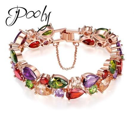 Poly Elegant Design Metallic Finished 4A Cubic Zircon bracelet