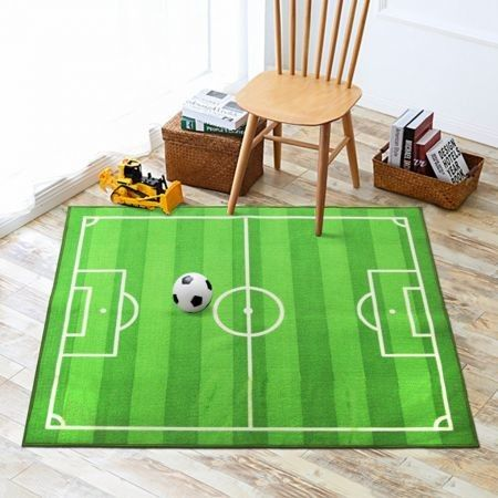 Play Rug Soccer Field Machine Washable Football Field Carpet, Play Mat for Boys Girls  Home Deco 150x200cm